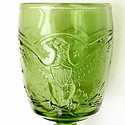 Eagle Goblet L E Smith - Vintage 1960s - Antique Green Glass Color