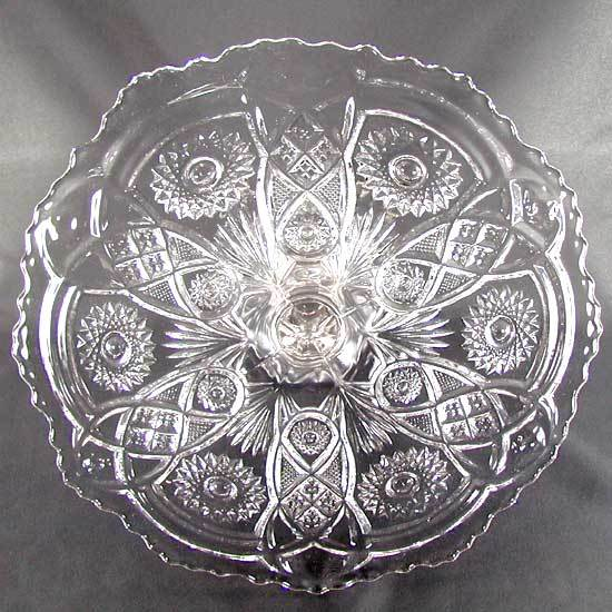 Imperial Glass Fashion Pattern Pedestal Cake Stand Vintage