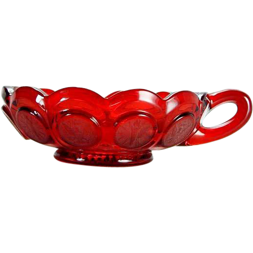 Fostoria Ruby Coin Nappy Handled Dish Sparkling Ruby Red