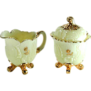 Northwood Louis XV Custard Glass Sugar Cream Pitcher Set Gold Gilded
