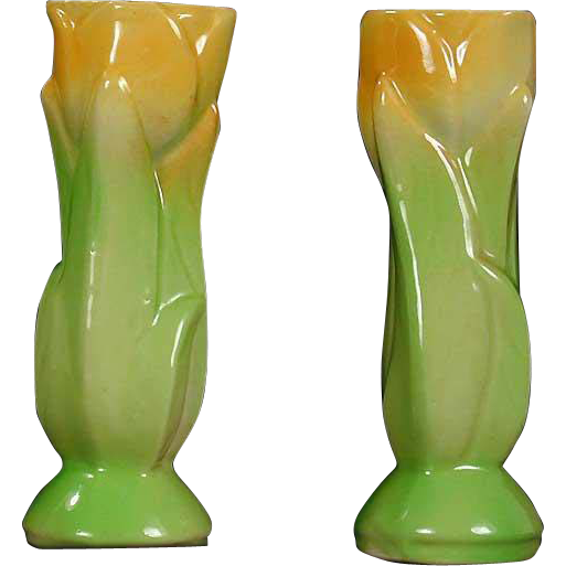 Shawnee Pottery Tulip Shape Bud Vase Pair Yellow Green Floral