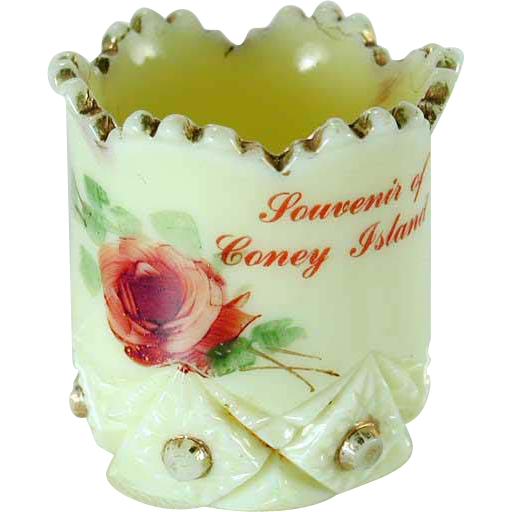 Coney Island NY Souvenir Custard Glass Toothpick Holder Jefferson 1913