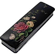 Victorian Lacquer Papier Mache Glove or Fan Box Roses Butterfly Ca 1900