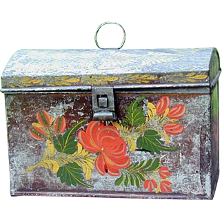 Antique Tole Tinware Domed Document Box N.Y. Folk Art Painted Tin 1820s
