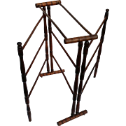 Antique Drying or Quilt Rack Walnut Wood Unique Folding 19th Century