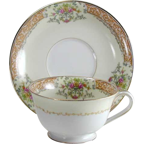 Noritake Occupied Japan Cup & Saucer Set - Rose China With Gold Trim - Vintage