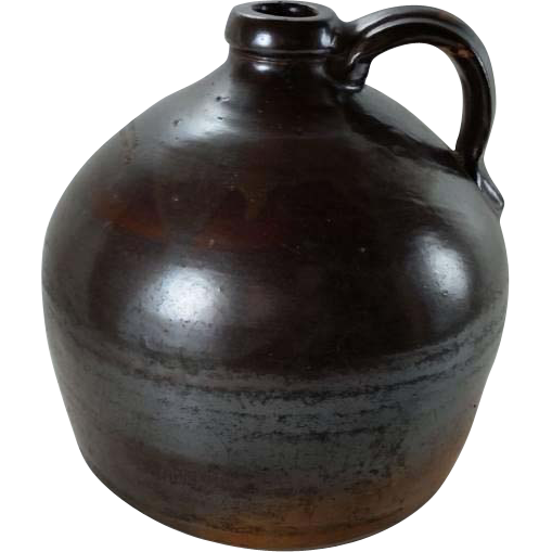 Antique Stoneware Squat Jug Albany Slip John Caire Poughkeepsie New York Mid 1800s