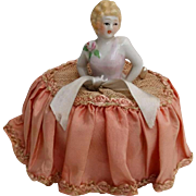 Vintage Lady Half Doll Pincushion - Rose at Shoulder Original Netting Skirt - Japan