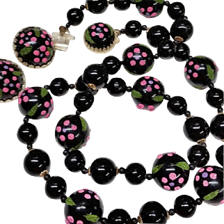 Vintage Black Beads Necklace Earrings Set Sugar Glass Flowers Hot Pink Japan