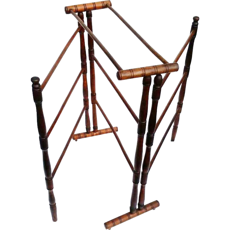 Antique Drying or Quilt Folding Rack Walnut Wood 19th Century Unique