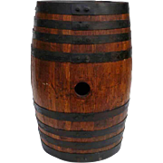 Antique Oak Wooden Barrel 5 Gal Vanilla Extract Label Original Condition