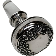Antique Gorham Sterling Silver Bottle Stopper Hallmarks Ornate Repousse Vintage