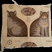 Antique Arnold Print Works Tabby Cat Kitten Pattern UNCUT Ca. 1892 Excellent