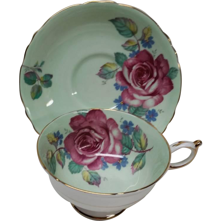 Vintage Paragon Cabbage Rose Footed Cup Saucer Bone China Excellent