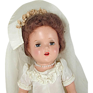 Composition Bride Doll 14 Inch Open Mouth Teeth Vtg 1940s X Circle Mark