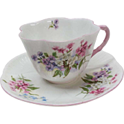 Shelley Stocks Pattern Cup Saucer Pink Dainty Bone China England