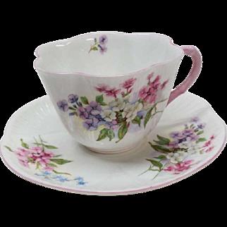 Shelley Stocks Pattern Cup Saucer Pink Dainty Bone China England