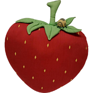 Vintage House of Hatten Strawberry Pillow Ladybug Joyce Miller Original