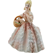 Lefton China Lady Planter Pink Crinoline Style Gown Blue Eyes Blonde Ringlets