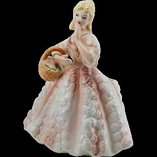 Lefton China Lady Planter Pink Crinoline Style Gown Blue Eyes Blonde Ringlets