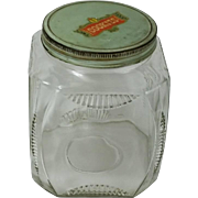 Vintage Depression Glass Cookie Storage Jar 1930s Cookie Decal