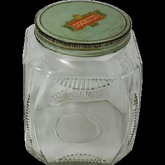 Vintage Depression Glass Cookie Storage Jar 1930s Cookie Decal