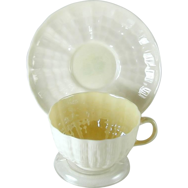 Belleek Pottery Tridacna Shell Pattern Cup Saucer Green Mark Ireland