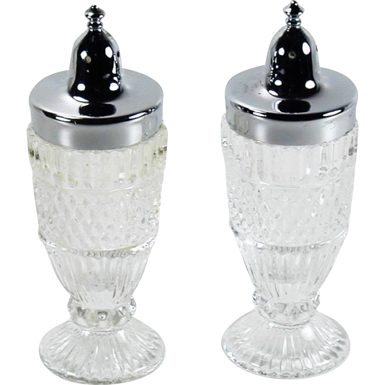 Fostoria Glass Leonardo Pattern Salt Pepper Shakers Vintage 1980s