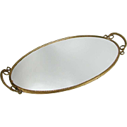Vintage Mid Century Gold Gilt Brass Mirror Dresser Vanity Tray Ornate