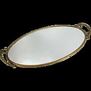 Vintage Mid Century Gold Gilt Brass Mirror Dresser Vanity Tray Ornate