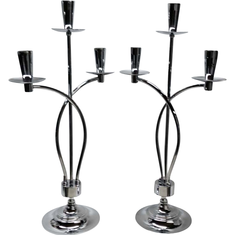 Vintage Mid Century Pair Chrome Candelabra Danish Style Double Arc Candleholders