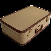 Vintage Tommy Traveler Suitcase Tweed Style Luggage Green Satin