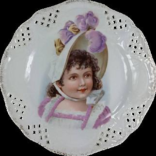 Victorian Young Girl Child Portrait Plate Pierced Border Vivid Colors