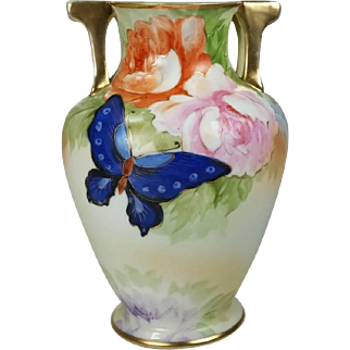 Vintage Nippon Hand Painted Butterfly Floral Vase Gold Enhanced