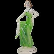 Katzhutte Art Deco Lady Dancer Porcelain Figure Hertwig Co. Germany
