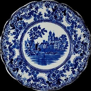 Dark Flow Blue Dinner Plate TOGO River Scene  F. Winkle England Colonial Pottery