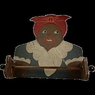 Vintage Black Americana Mammy Wood Towel Holder Brown Face 1940s