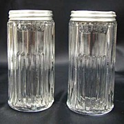 Hoosier Cabinet Glass Mission Spice Jar Set 2 Vintage Original