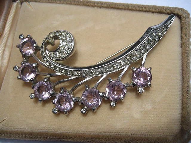 Vintage Marcel Boucher Brooch with Big Open Backed Pink Rhinestones