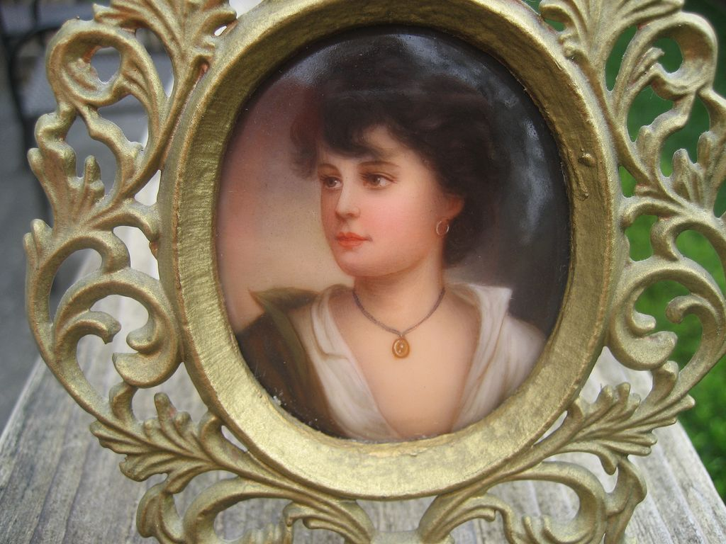 Antique Miniature Hand Painted Figural Portrait of Beautiful Women on Porcelain German Brass Frame