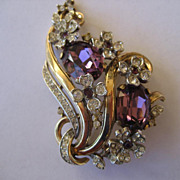Vintage Floral Rhinestone Rhinestone Trifari Brooch With BIG Beautiful Purple Stones Produced in 1942