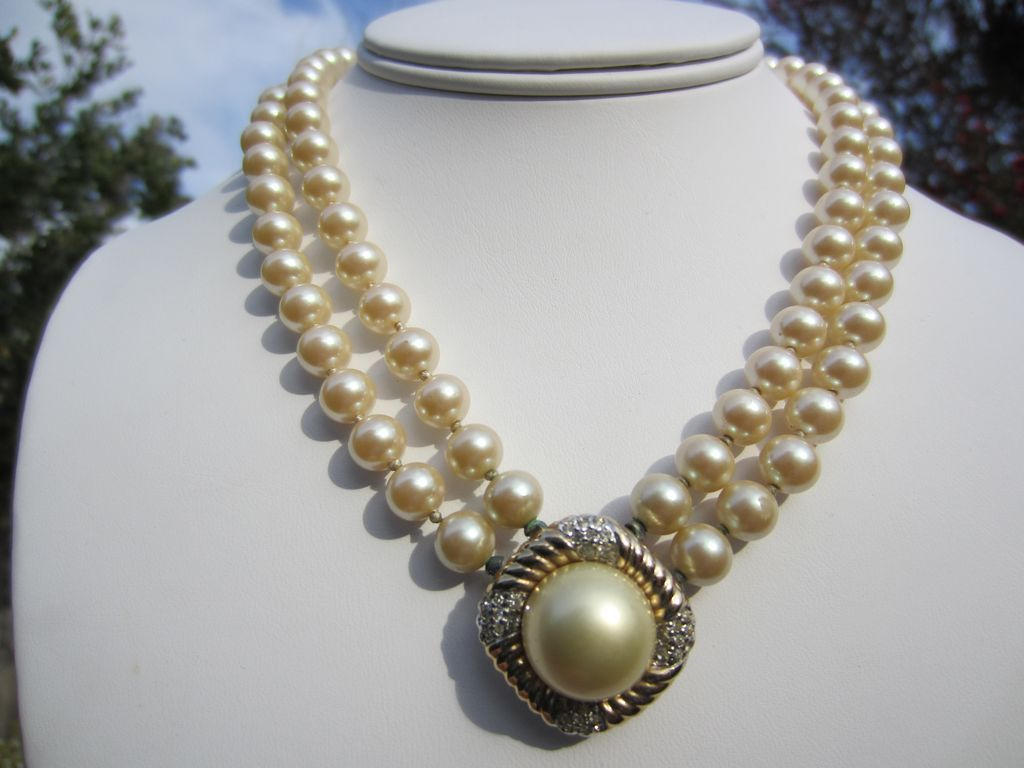 Vintage Double Strand Faux Pearl Necklace With Gold Tone