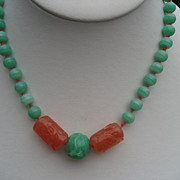 Vintage KJL Necklace with Oriental Art Glass and simulated Peking Glass Beads