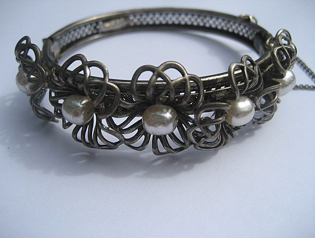 Vintage Miriam Haskell Silver and Faux Baroque Pearl Bracelet Early and Unusual