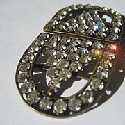 Vintage Art Deco Hand Cut White Paste Buckle Made In Czechoslovakia