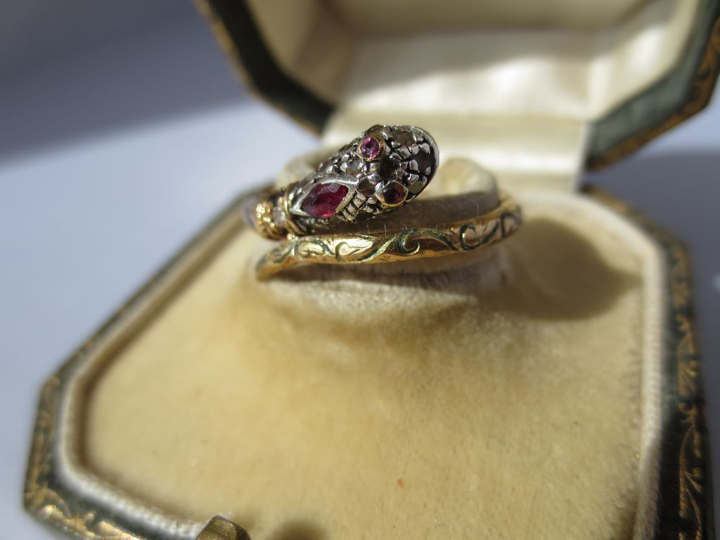 For Juliette! Ultra Rare Gold Diamond Ruby, Sapphire and Enamel Serpent or Snake Ring ~ Antique Georgian Period