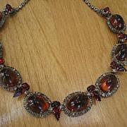 Beautiful Vintage Hattie Carnegie With Huge Gumdrop Topaz Glass Cabochon and Ruby Red Rhinestone Necklace