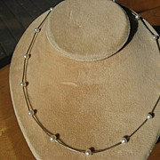 Vintage Italian Cultured Pearl and Sterling Silver Necklace