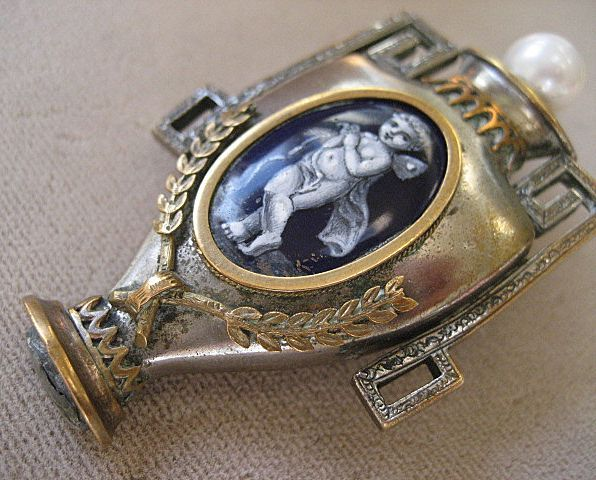 Shop Special! Rare Antique Georgian Locket ~ Brooch Miniature Cupid Portrait Enamel Painting Silver and Gold