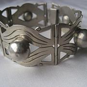 Vintage Sterling Silver Gothic Mexican Link Bracelet